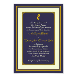 Navy Gold Seahorse Nautical Wedding Invitation