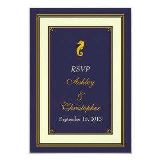 Navy Gold Seahorse Nautical Wedding Response Card