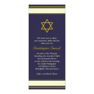 Navy Gold Star of Davie Bar Mitzvah Invitation