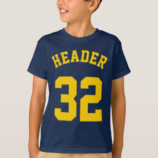 Navy & Golden Yellow Kids | Sports Jersey Design T-Shirt