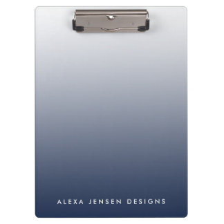 Navy Gradient Ombre Personalized Clipboard