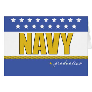 Navy Graduation Blue, Gold with Stars, Rope Card