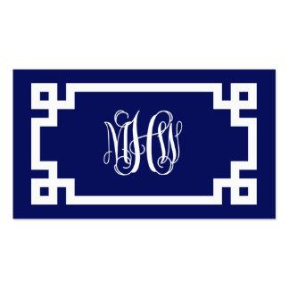Navy Greek Key #2 Framed 3 Init Vine Monogram Business Card Templates
