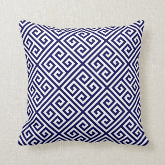 Navy Greek Key Pattern Cushion