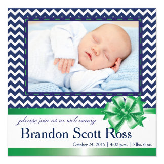 NAVY & GREEN CHEVRON BABY ANNOUNCEMENT