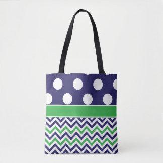 Navy Green Dots Chevron Tote Bag