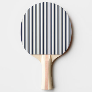 Navy Grey and White Vertical Stripes Ping Pong Paddle