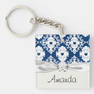 navy hearts blue white damask Double-Sided square acrylic key ring