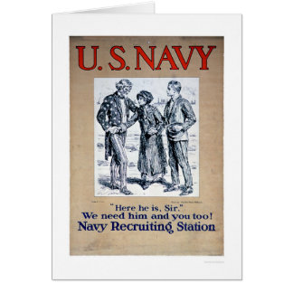 Navy - Here he is Sir (US02306) Greeting Card