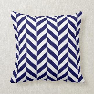 Navy Herringbone Print Throw Cushions
