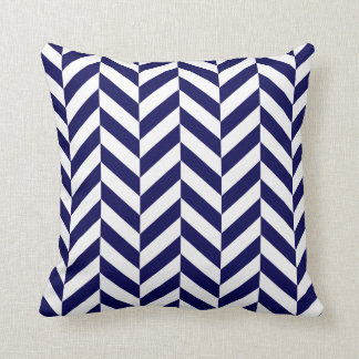 Navy Herringbone Print Throw Pillow