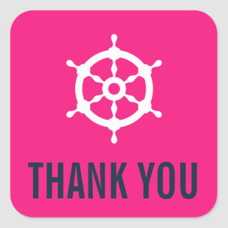 Navy & Hot Pink Nautical Wedding Thank You Sticker