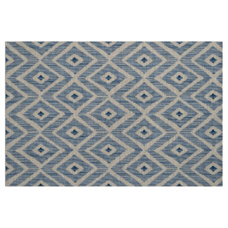 Navy Ikat on natural linen Fabric