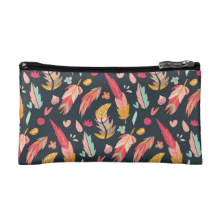 Navy Illustrated Feathers Pattern Cosmetic Bag