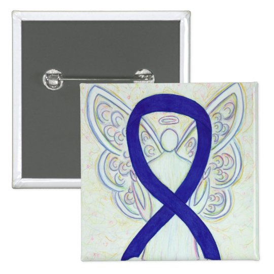 Navy, Indigo, Dark Blue Awareness Ribbon Angel Pin