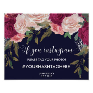 navy instagram sign wedding hashtag