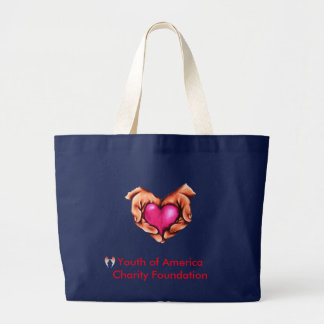 Navy Jumbo Tote, Heart with hands, YACF Large Tote Bag