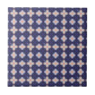 Navy Kaleidoscope Pattern Small Square Tile