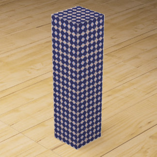 Navy Kaleidoscope Pattern Wine Gift Box