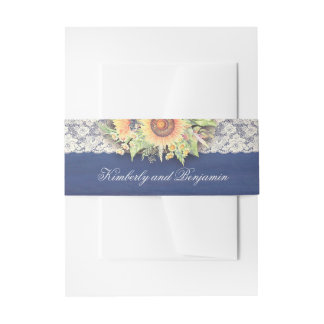 Navy Lace and Sunflowers Rustic Wedding Invitation Belly Band