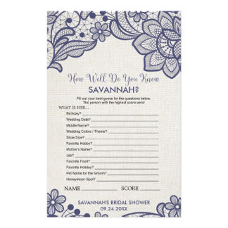 "Navy Lace ""How Well Do You Know The Bride"" Game Flyer"