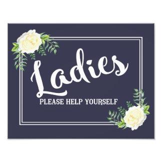 navy Ladies please help yourself wedding party Photographic Print
