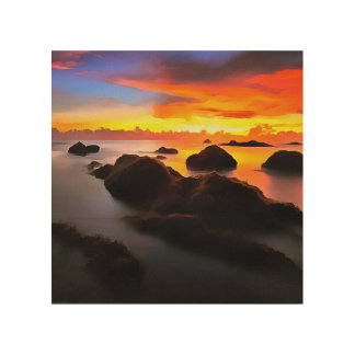Navy Landscape at sunrise Wood Wall Decor