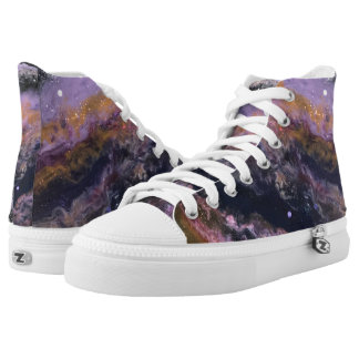 "Navy, Lavender, Peach Abstract High Tops ""Galaxy"""