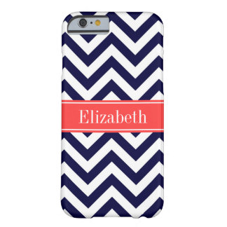 Navy Lg Chevron Coral Red Quatrefoil Name Monogram Barely There iPhone 6 Case