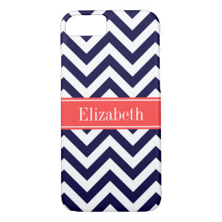 Navy Lg Chevron Coral Red Quatrefoil Name Monogram iPhone 7 Case