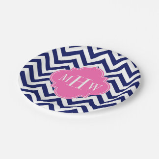Navy Lg Chevron Hot Pink #2 Quatrefoil 3 Monogram 7 Inch Paper Plate