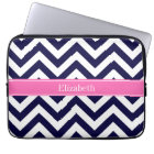 Navy Lg Chevron HotPink2 Quatrefoil Name Monogram Laptop Sleeve