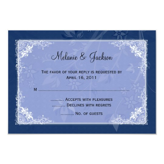 Navy Light Blue Floral Swirls RSVP Card