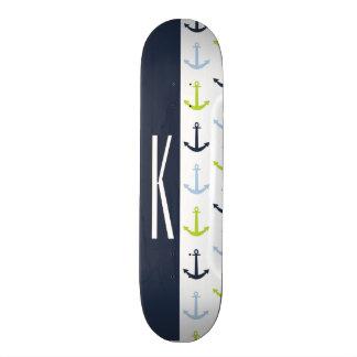 Navy, Lime Green, & Baby Blue Nautical Anchors 21.6 Cm Skateboard Deck