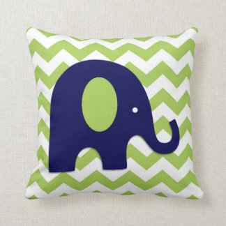 Navy Lime Green Elephant Nursery Throw Pillow