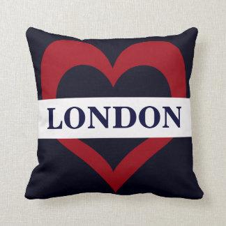 navy London heart throw pillow
