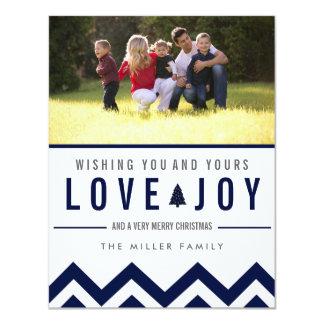 Navy Love & Joy Holiday Photo Christmas Cards 11 Cm X 14 Cm Invitation Card
