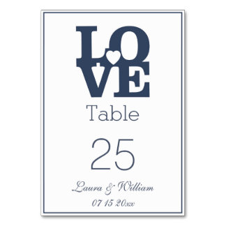 Navy LOVE Wedding Table Number Cards Table Cards