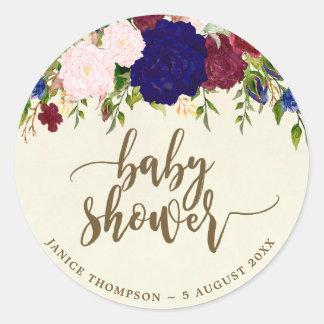 navy marsala floral baby shower sticker favors