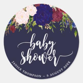 navy marsala floral baby shower sticker favours