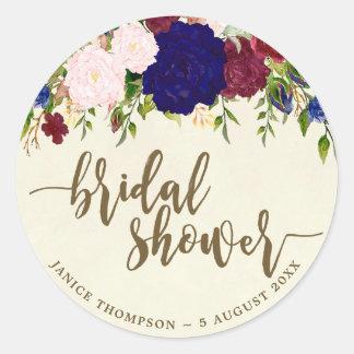 navy marsala floral bridal shower sticker favours