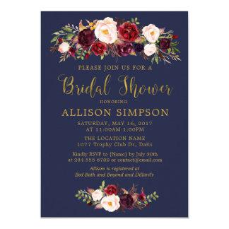 Navy Marsala Red Autumn BridalShower Invitations