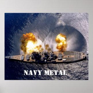 navy metal poster