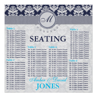 Navy/Midnight Damask - Wedding Seating Chart Posters