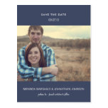 Navy Minimal Photo Save The Date Post Cards