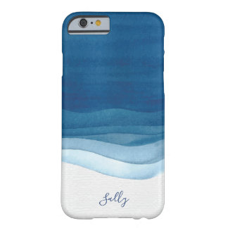Navy, Modern Watercolor Monogram Barely There iPhone 6 Case