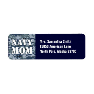 Navy Mom Blue Camouflage Return Address Label