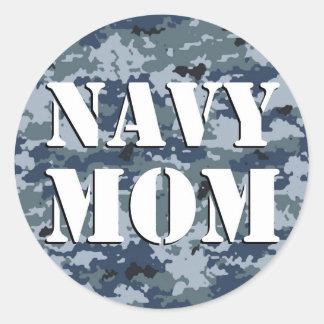 Navy Mom Camouflage Round Classic Round Sticker