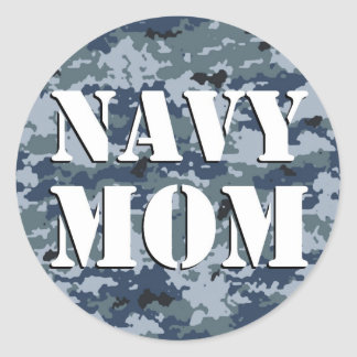Navy Mom Camouflage Round Round Sticker