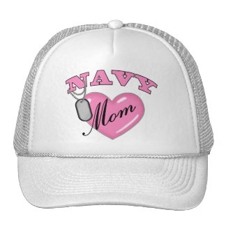 Navy Mom Pink Heart N Dog Tags Cap